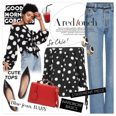 Jeans & Cute tops: A red touch