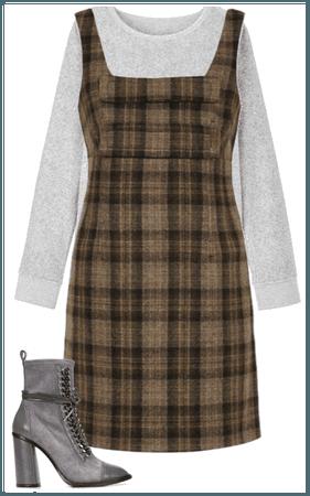 Plaid Dress, Grey Sweater