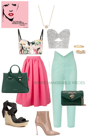 Spring green inspired interchangeable outfit