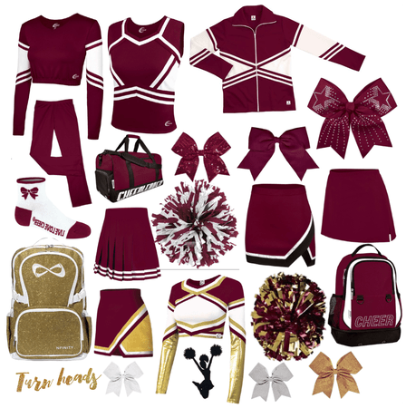 Maroon Cheer uniforms and accessories