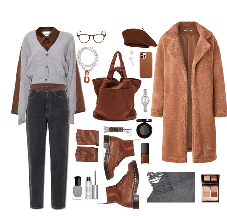 grey and brown challenge outfit