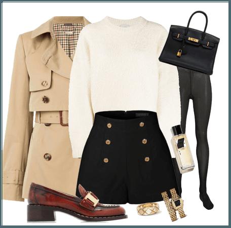 NYC Gal- Short Trench Coat & Shorts