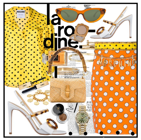 Moschino orange and yellow outfit