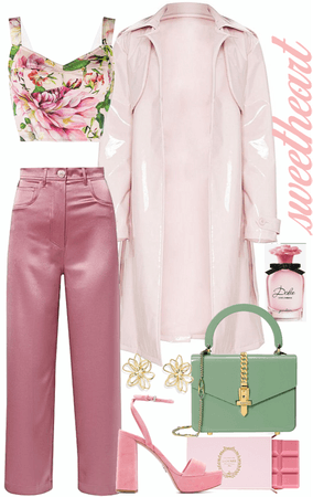 sweet pink look with light pink leather long jacket