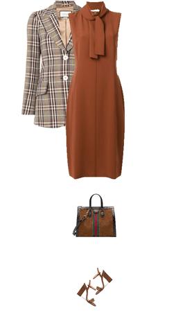 Office outfit: Cognac - Plaid