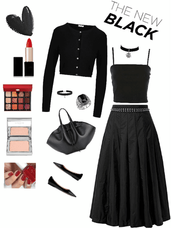 Outfit total Black con pollera