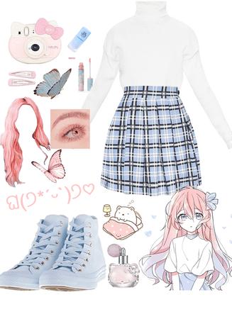 pink + blue anime