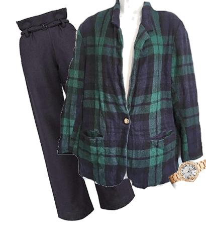 Vintage Green Navy Plaid Blazer