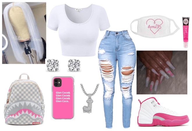 pink nd white outfit