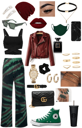 red, green, and black outfit