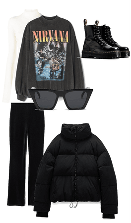 Cool layering outfit with flares and oversized crewneck
