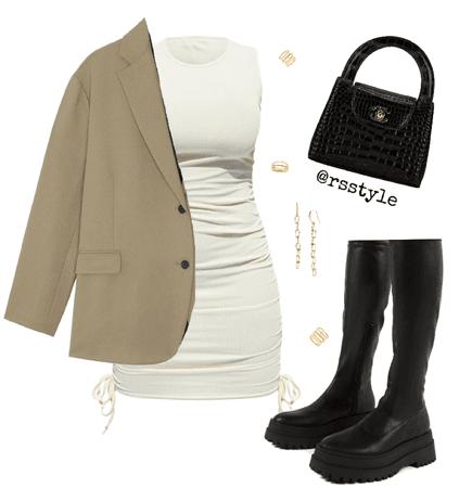 White dress + oversized blazer