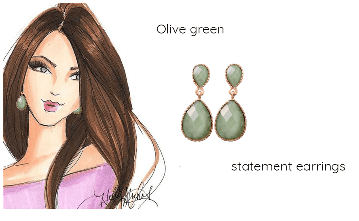 Olive green statement earrings