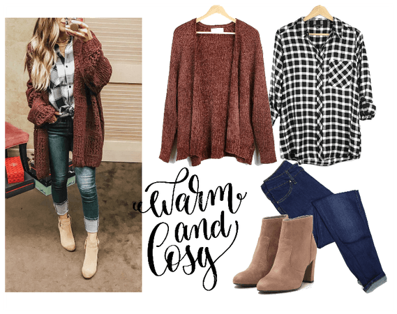 Warm and Cozy Cardigan with Plaid