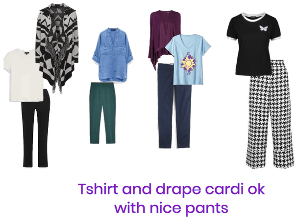 Business Refinement tshirt and drape cardi
