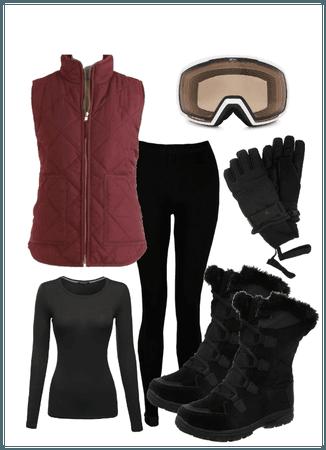 Maroon black ski outfit