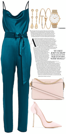 silk nice blue jumpsuit look