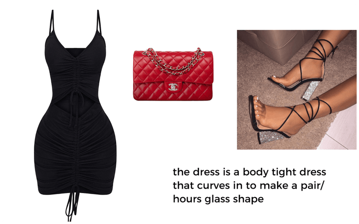 body dress with red accent bag