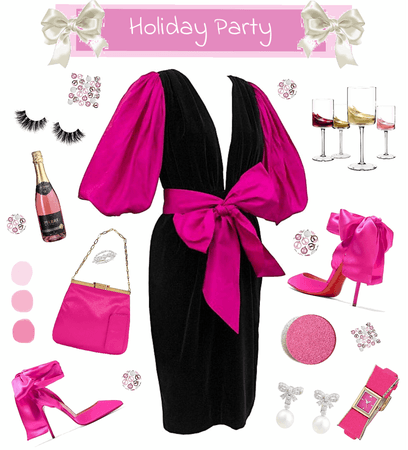 Holiday Party in Pink, Black and White