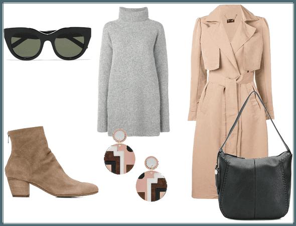 Gray dress and beige coat