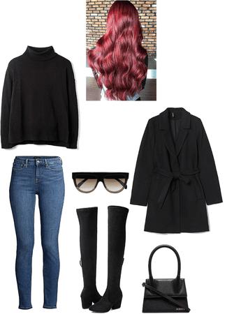 black turtleneck jeans black otk boots and black jacket winter outfit