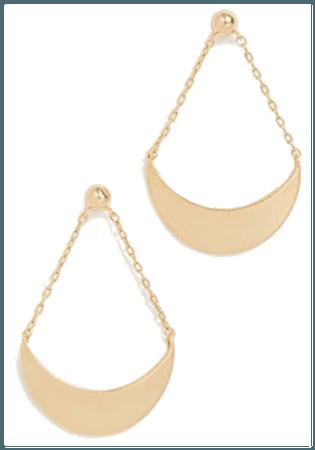 rose gold hoop rear drop earings