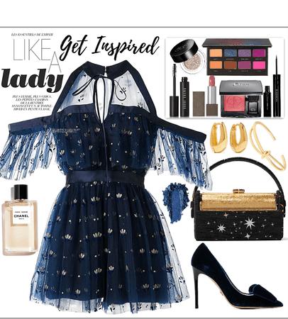 Dark blue sparkles dress look