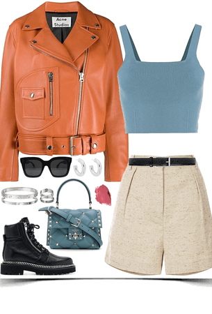 cool,stately look with orange leather jacket
