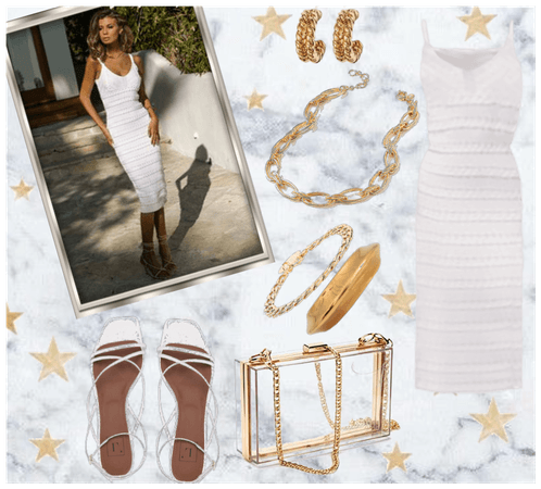 White Knit Dress with Gold Accessories