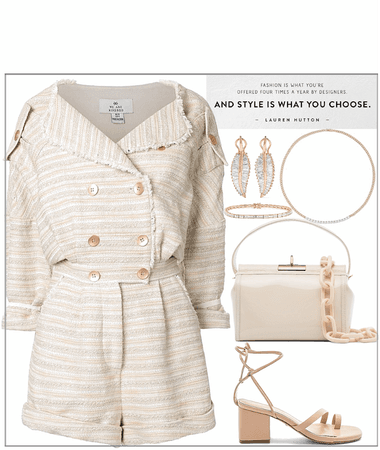 short jumpsuit with rose-gold accessories look