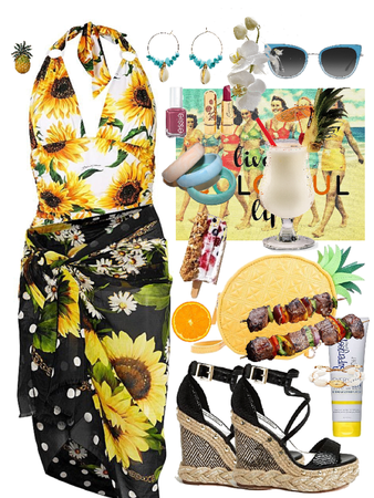 Retro Yellow Sunflower Swimwear Summer