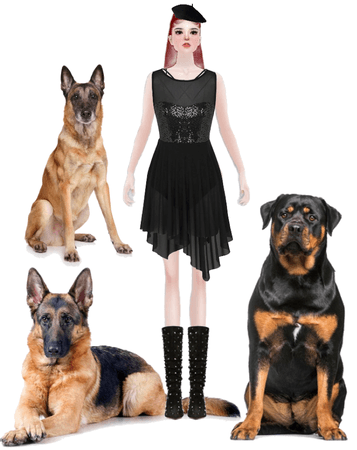 Creepy Goth Girl And Her Mean Dogs