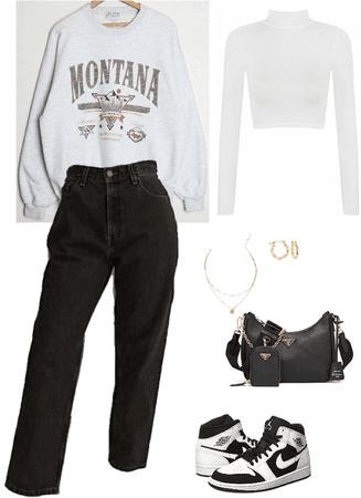 black and white Jordan's