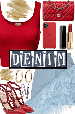 Red Top and Denim Skirt
