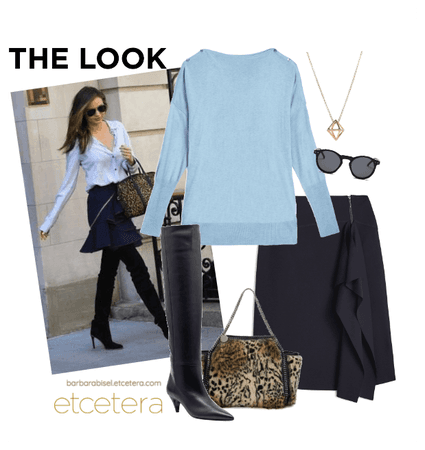 Parisian sweater and Melody navy blue skirt