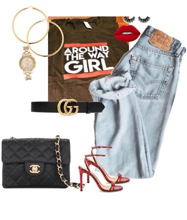 Black Graphic Tee & Boyfriend Jeans