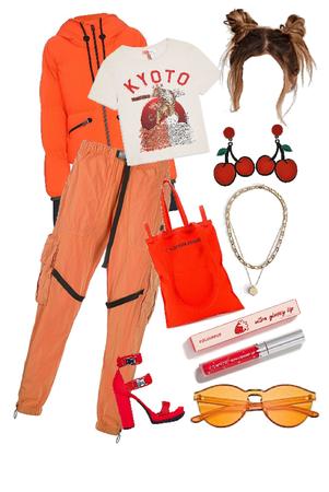 orange/red city day look