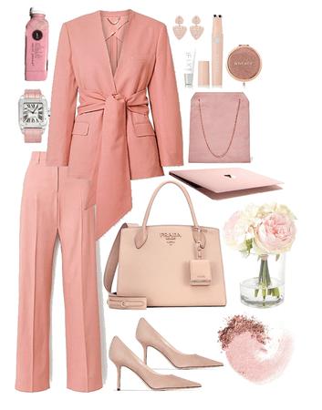 pink blazer suit