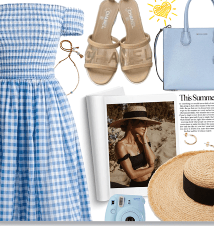 Gingham Dress Paired with Chanel Brown sandals!
