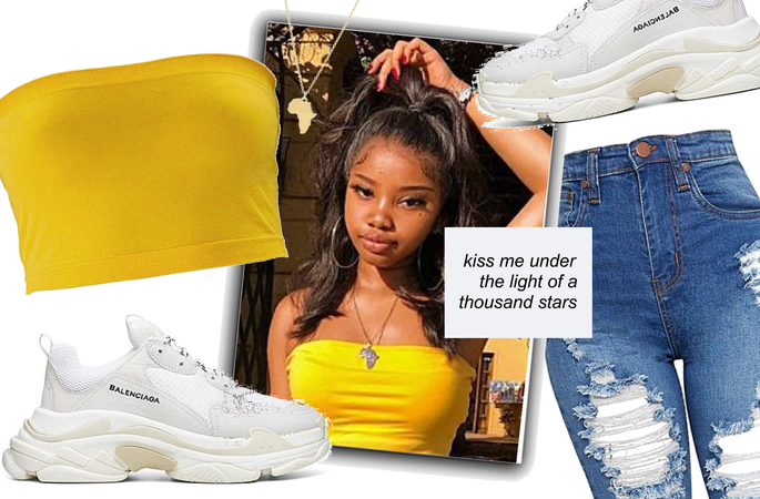 Yellow : Ripped Jeans