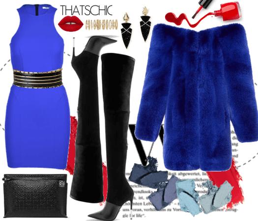 The Neon Blue Dress + Fur;