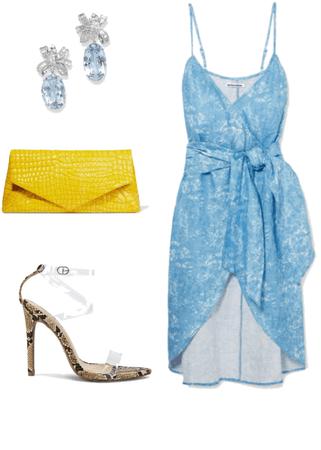 Blue Dress, yellow Purse