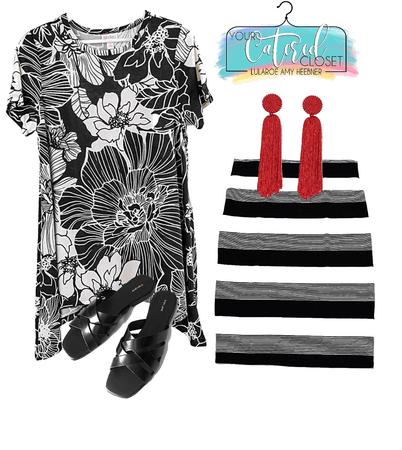 black white floral and stripe pattern mix