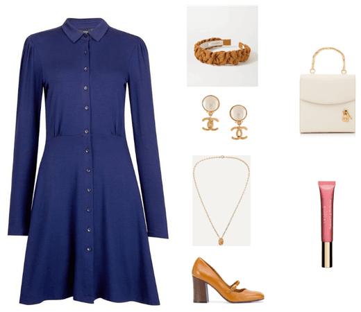 Navy Jersey Shirt Dress