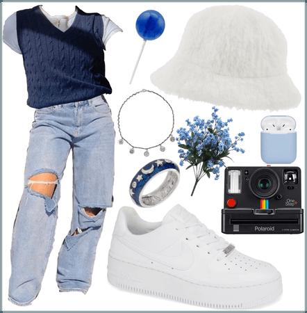 Blue indie trendy jean sweater vest oufit