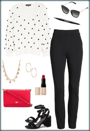 Black & White Polka Dot Sweater + Pops of Red
