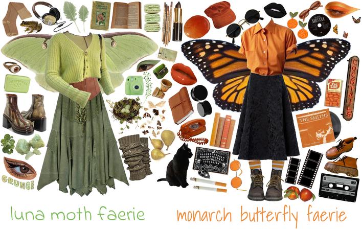 monarch and luna moth faeries