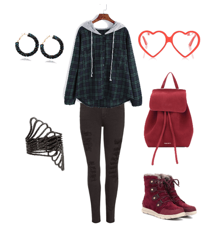 Patterned (plaid) Red And green Outfit