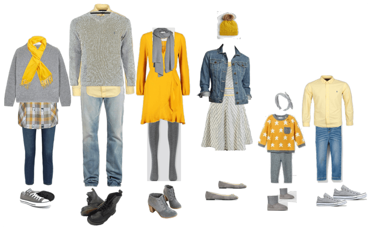 Family portrait outfits winter gray and yellow