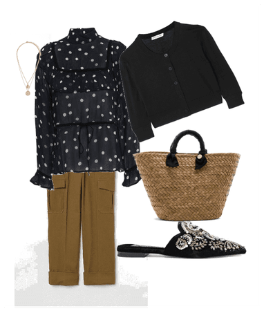 Polka dot blouse work look